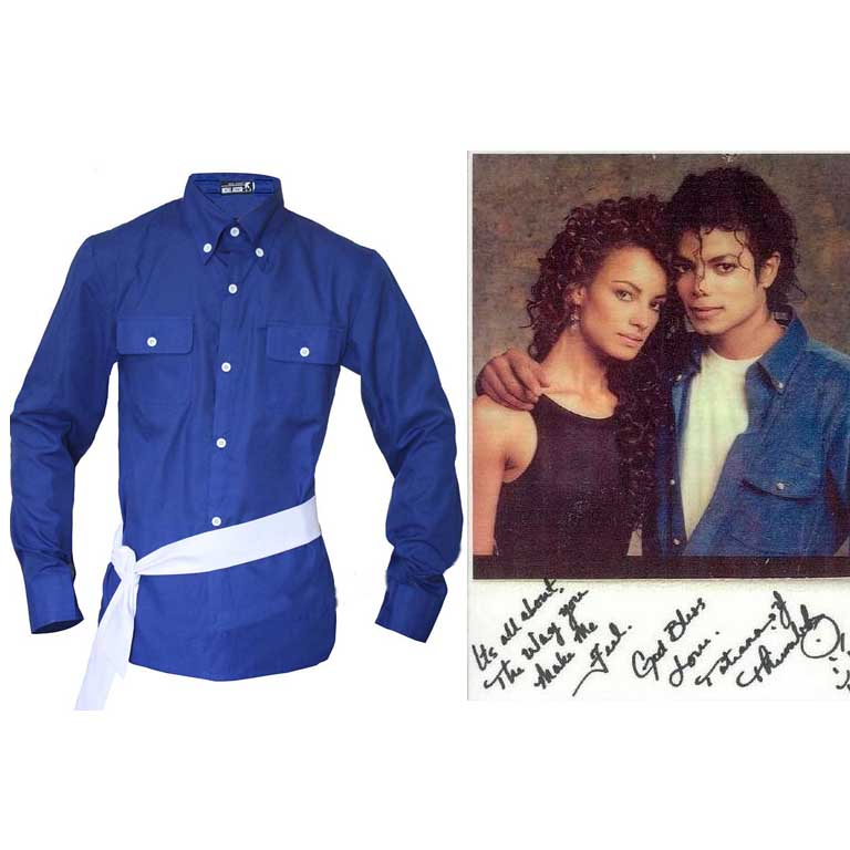 Michael Jackson' the way you make me feel'Blau Hemd